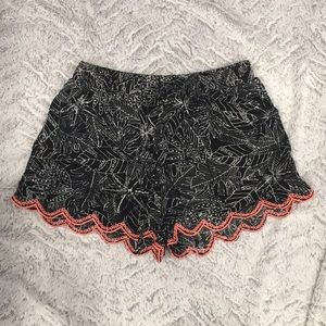 Black patterned with lace detail shorts